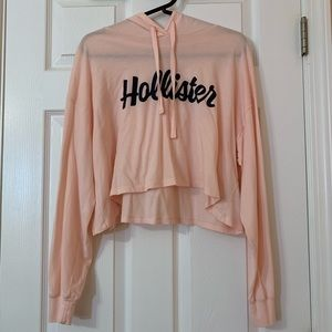 Hollister Pink Cropped Fleece Hoodie